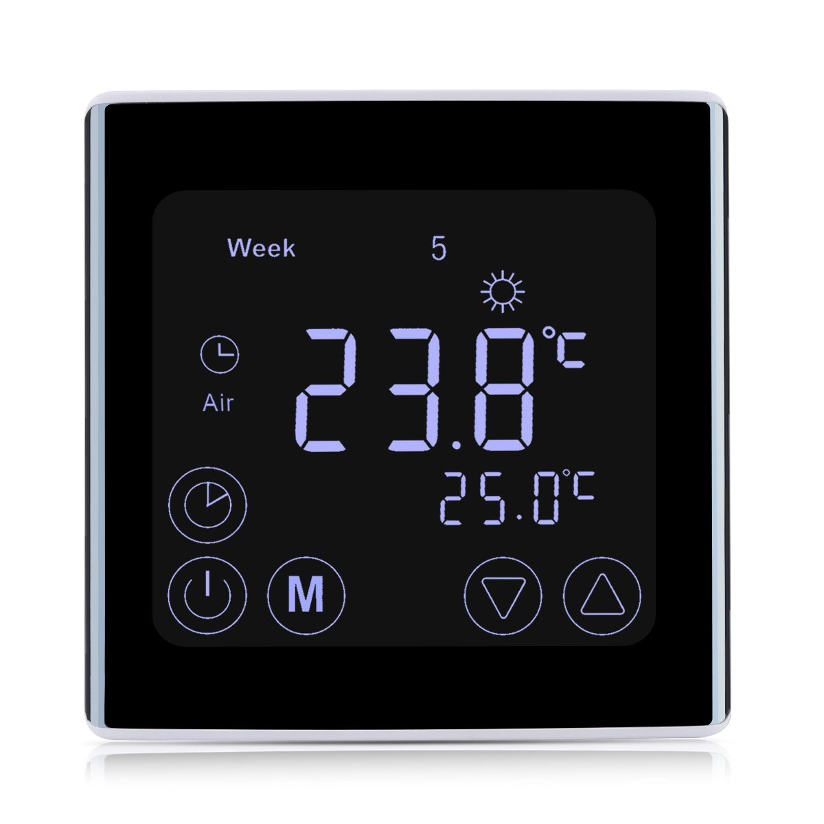 floureon thermostat num rique r glable d 39 ambiance programmable sans fil avec ebay. Black Bedroom Furniture Sets. Home Design Ideas
