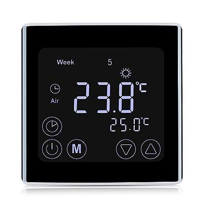 Termóstato de calefacción FLOUROEN con pantalla táctil LCD. Programable semanal o diario 5+2/6+1/7, de calefacción eléctrica y controlador de temperatura ...