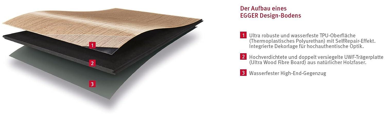 strapazierf/ähig Klick Design Laminat robust EGGER Home Designboden hellbraun Pinie rustikal braun EHD009 wasserfest und PVC frei pflegeleicht 5mm kompakt, 1,989 m/²