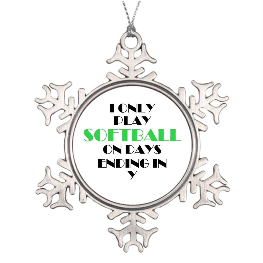 7th Gener Tree Branch Decoration Softball Every Day Green Customizable Christmas Snowflake Ornaments Green
