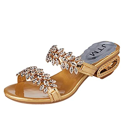 0876bbea5 2019 Summer New Women s PU Rhinestones Chains Flat Gladiator Open Toe Mid  Heel Sandals Wedding Shoes Gold Color