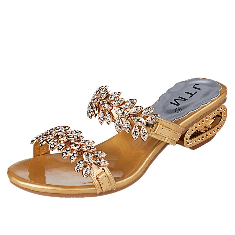 ZOMUSAR Clearance! Sandals Slippers, Women Sexy Rhinestone Fish Mouth Sandals Slipper High Heels Crystal Party Shoes (US:8, Glod)