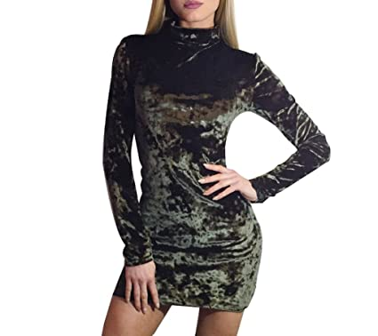 Monzocha Women Velvet Hi-Neck Long Sleeve Bodycon Dress Sexy Package Hip  Dress at Amazon Women s Clothing store  da599435f