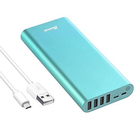 BONAI Bateria Externa 20000mAh Power Bank Cargador portátil con Salida de 4 USB para Movil -