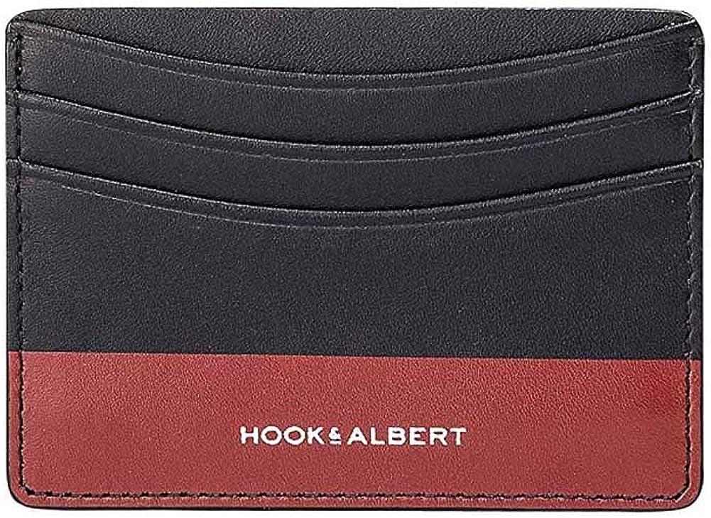 HOOK /& ALBERT Mens Black Leather Card Holder Pocket Wallet