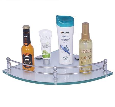 Primax Multi-Purpose Glass Corner Shelf - 9 x 9 Inches -with Nano Wall Brackets(Glossy)
