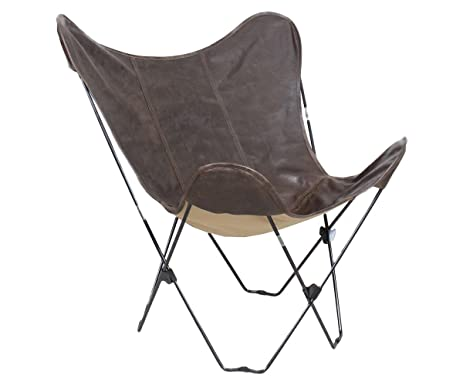 Sven Leather Butterfly Chair With Folding Black Metal Base And Top Grain  Brown Leather Upholstery