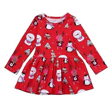 Baby Christmas Cartoon Dress,Hongxin Girls Cute Penguin Snowman Pattern Full Sleeve Vestidos Kids Princess