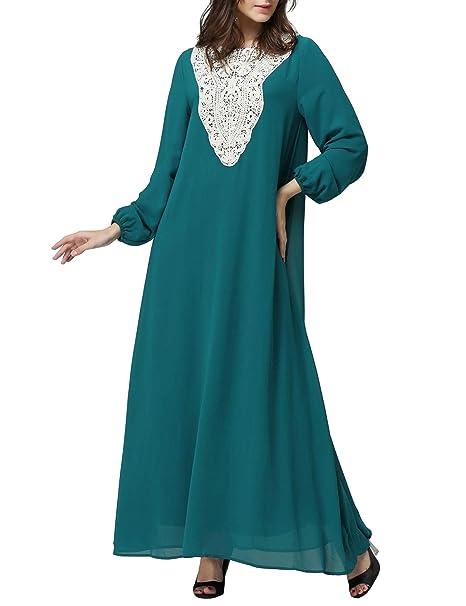Abaya Musulmana Vestido Arabe Mujer-Manga Larga Ropa de ...