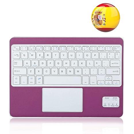 Wasan Teclado Bluetooth en Español con Touchpad Tactil QWERTY, Batería Recargable USB Portátil para Windows