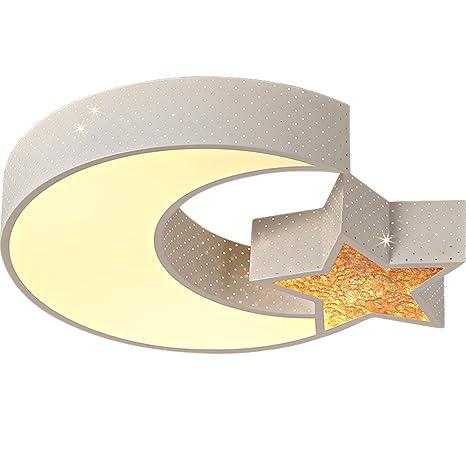 Moderna Lámpara Infantil Color Blanco Estrella Luna Warm ...