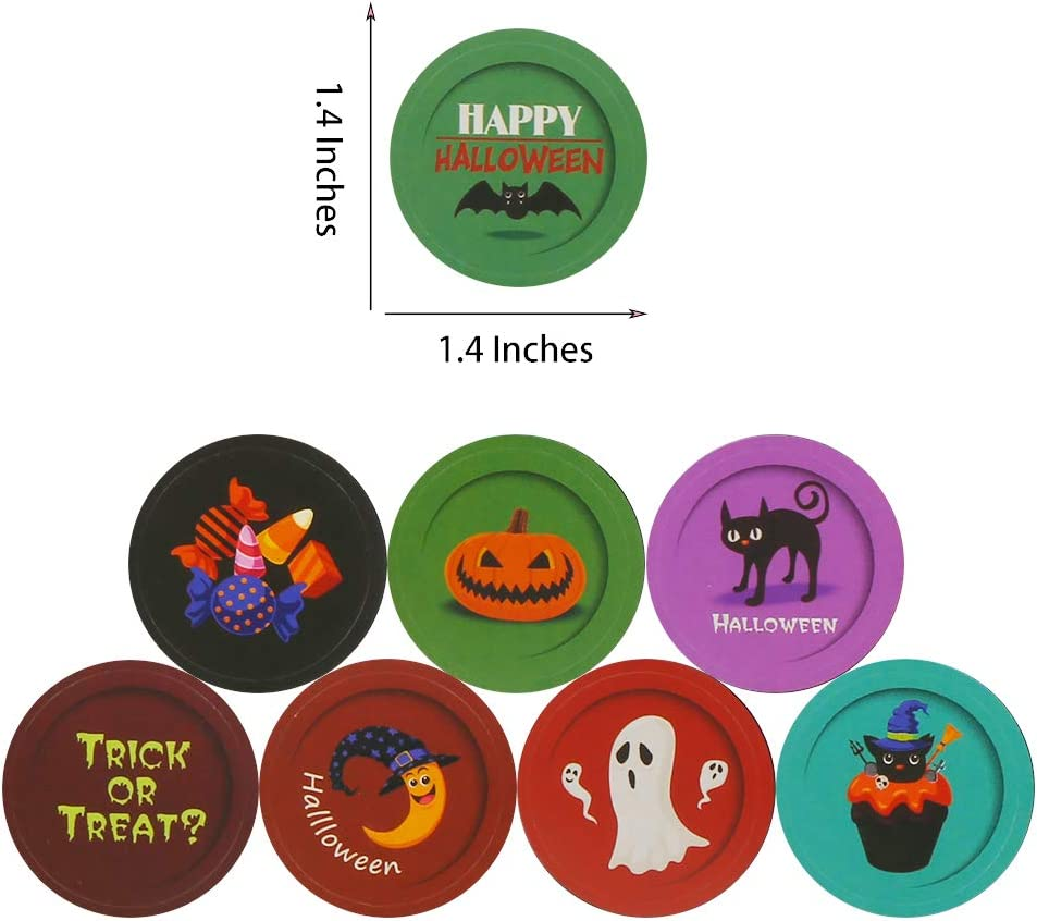 STEFORD Halloween Stickers for Kids,144 Pieces Halloween Self-adhensive Decorative Sealing Stickers for Halloween Party Supplies