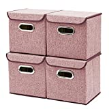Storage Boxes [4-Pack] EZOWare Linen Fabric Foldable Basket Cubes Organizer Bin Box Containers Drawers with Lid - Wine For Office Nursery Bedroom Shelf