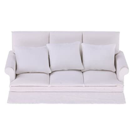 MonkeyJack 1/12 Dollhouse Miniature Living Room Furniture Three Seater Couch Sofa Pillow Set White Dolls House Decoration