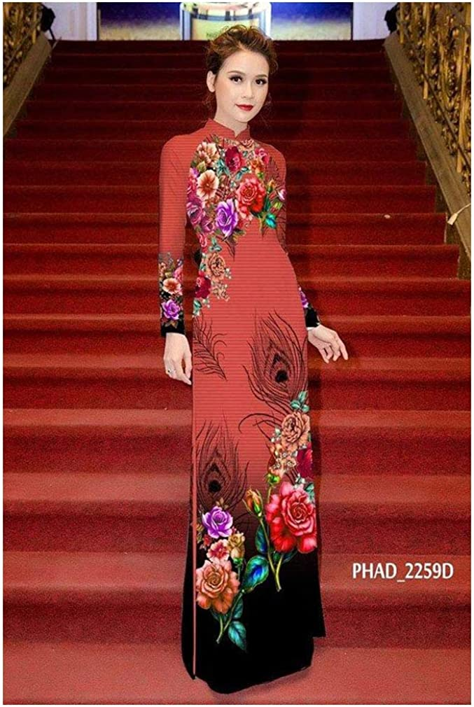 Silk 3D ADVN0405202138 Traditional Vietnamese Long Dress Collections with Pants Ao Dai