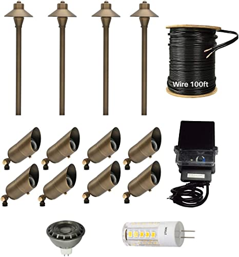 12 Pack Led Light Kit Outdoor Low Voltage Solid Brass Waterproof Landscape Lighting 4 Led Brass Pathway Lights 8 Led Brass Spotlights 100ft 12 2 Low Voltage Cable 150w Low Voltage Transformer Amazon Com