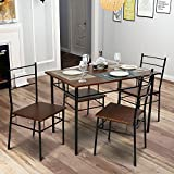 Merax 5 Pcs Wood and Metal Dining Set Table and 4 Chairs Home Kitchen Modern FurniturexFF08;EspressoxFF09;