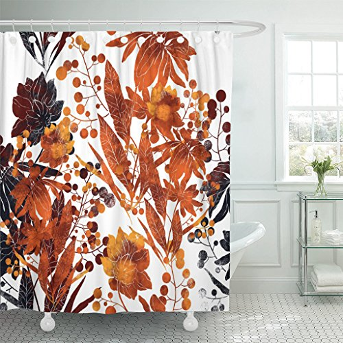Breezat Shower Curtain Imprints Fantastic Bouquet Hand Digital Drawing and Watercolor Botanical Boho Chic Mixed Media Waterproof Polyester Fabric 72 x 72 Inches Set with (Botanical Bouquet)