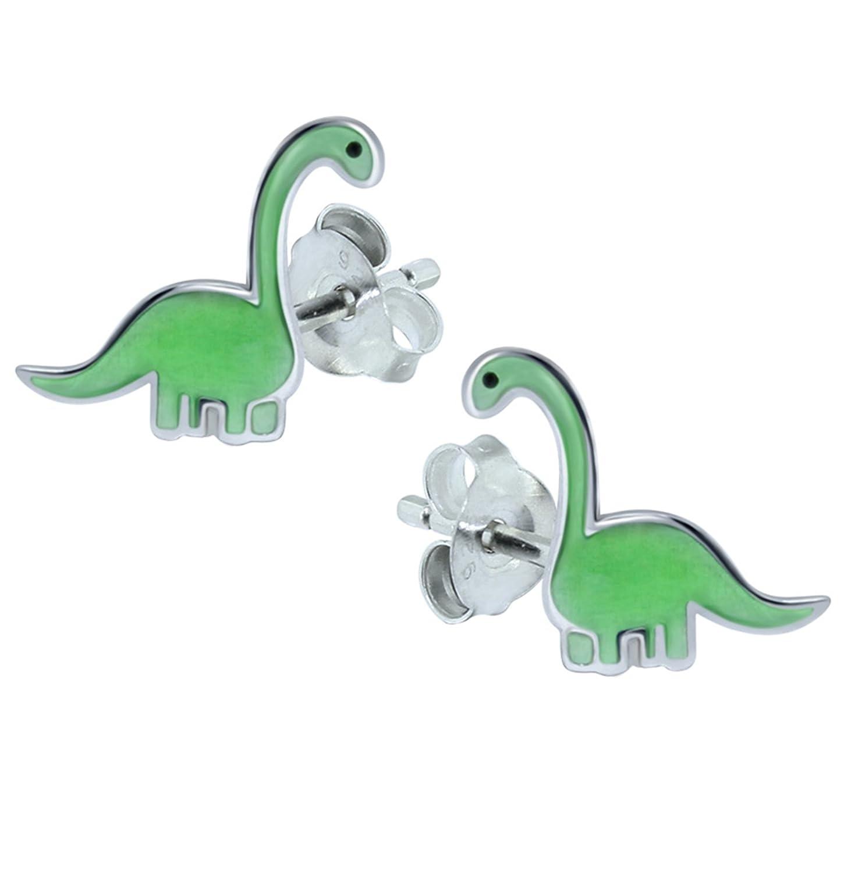 Sterling Silver Green Dinosaur Gift Earrings