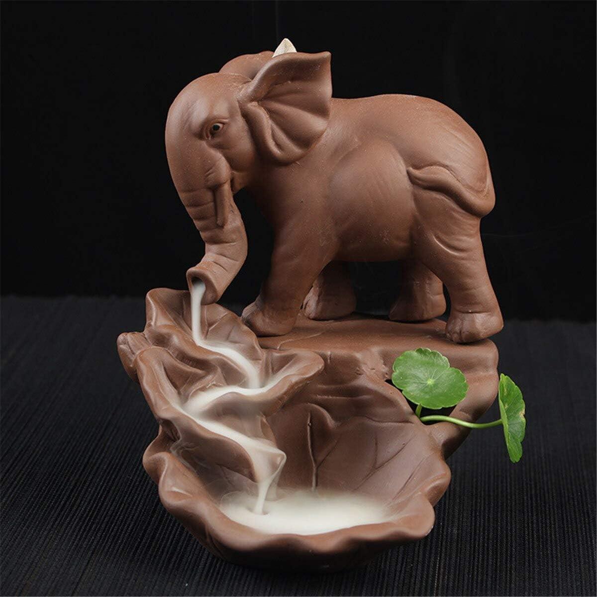 Havota Set Tea - Incense Incense Set Incense Backflow Porcelain Mug Incense Burner Tea Or Candle - Porcelain Ceramic Cone Censer Ganesha Backflow Incense Burner Elephant Holder With 10Pcs Cone
