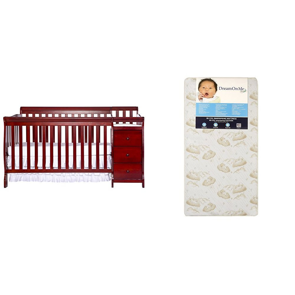 Dream On Me 5 in 1 Brody Convertible Crib with Changer with Dream On Me Spring Crib and Toddler Bed Mattress, Twilight : Baby