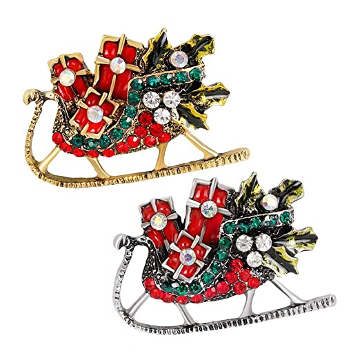 shenwe christmas sled brooches xmas santa sleigh brooch pin jewelry giftpack of 2 - Christmas Sled