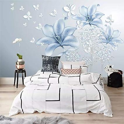Svghfk Tapete Wandbild 3D Blumen Blau Fototapeten Wohnzimmer ...