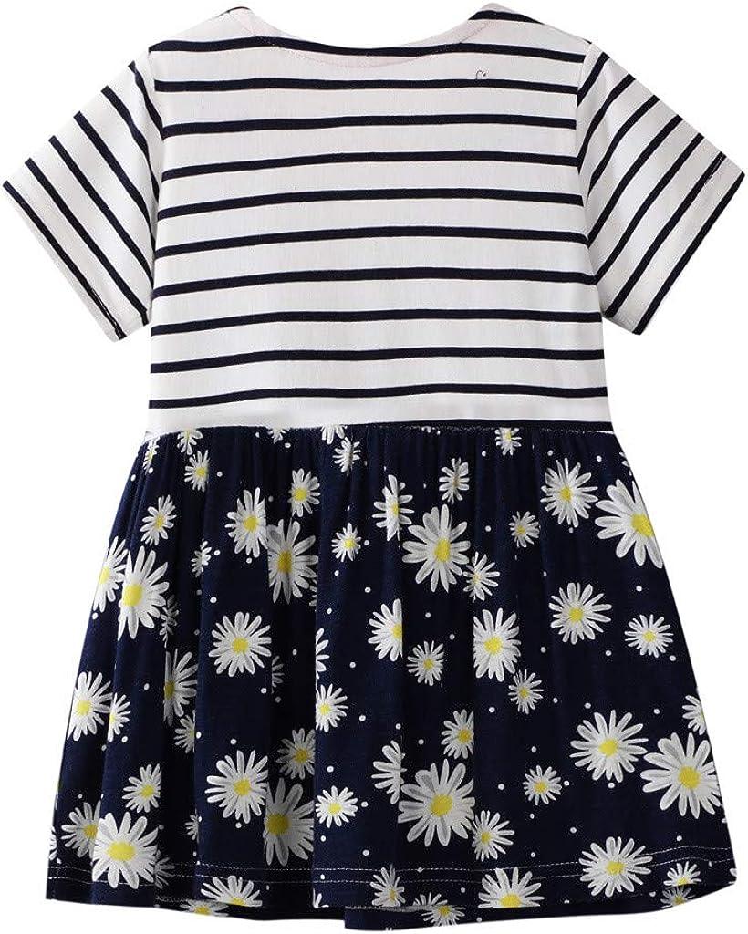 Baby M/ädchen Gestreift Dinosaurier Blumen Drucken Kleid KIMODO/® Kleinkind Pailletten Sommerkleid L/ässig Kleidung Outfit