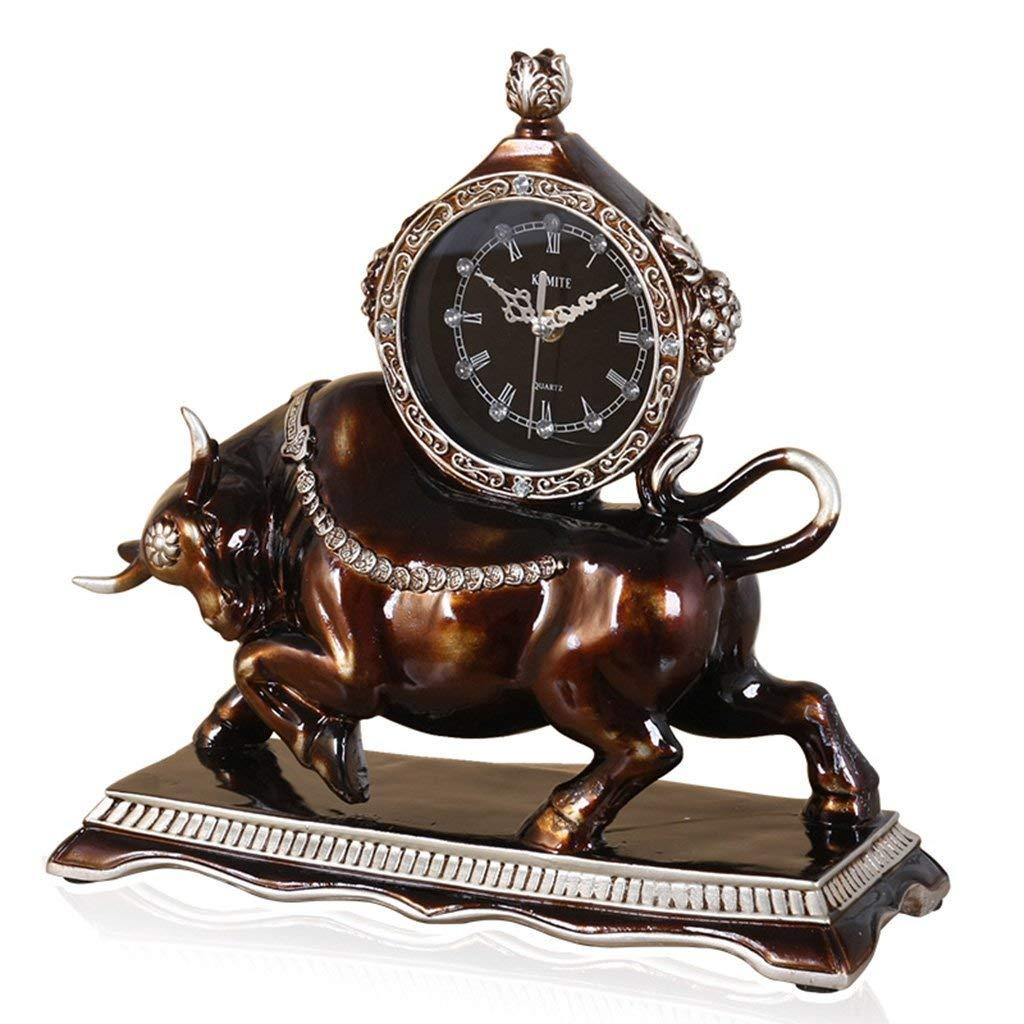 デスククロックファミリークロックヨーロピアンスタイルの置時計、レトロミュートデコレーションベッドルームリビングルームのクロックリビングルームのベッドルームに最適 B07TGGYDYD