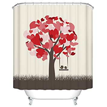ChezMax Romantic Love Tree Print Waterproof Bathroom Shower Curtain With 7  Hooks 36u0026quot; ...