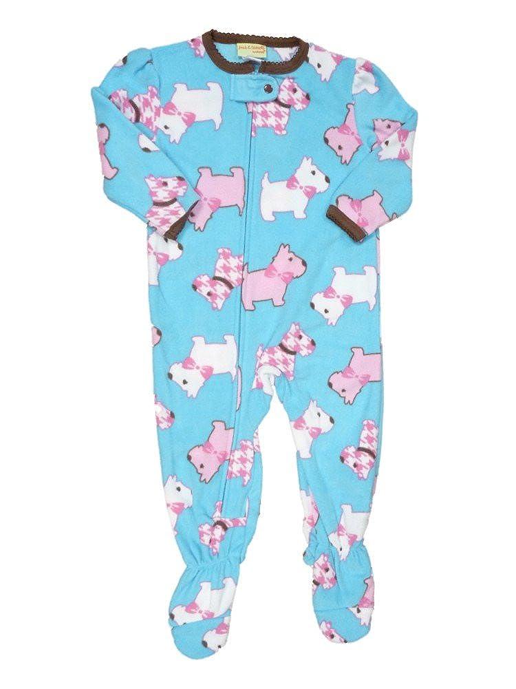 aad2b75b4 Amazon.com: Infant & Toddler Girls Plush Blue Scottie Dog Sleeper Sleep &  Play Pajamas: Clothing