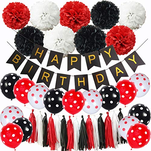 InBy Black and Red Mickey Mouse Happy Birthday Party Decoration Set Minnie Mouse Party Supplies Kit - Happy Birthday Banner, 12