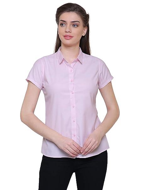 Leaf Women\'s Solid Formal Dark Pink Shirt