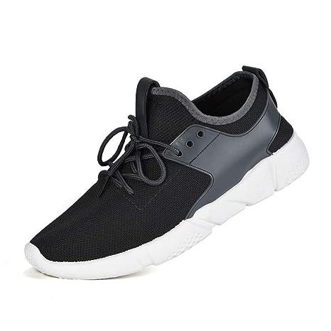 ZHRUI Moda Correas de los Hombres Deportes Correr Zapatillas de Deporte Casuales Zapatos sólidos clásicos (