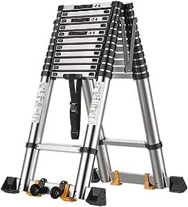 Escalera telescópica 7.5 pies / 9 pies / 11.5 pies / 13 pies / 15.5 pies Escalera de extensión telescópica, Aluminio con Marco en A para Uso Industrial doméstico Diario o de em: Amazon.es: Hogar