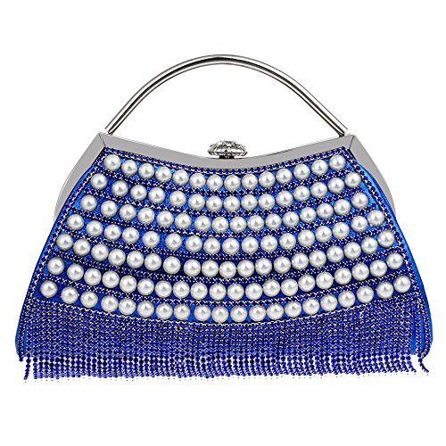 Bridal Party Ladies Crossbody Clutch Evening Handbag Handbag Bridal Bag Clutch Purse Wedding Elegant Diamante NBWE Blue Small BOwUUx