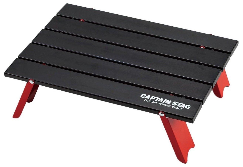 キャプテンスタッグ キャンプ バーベキュー用 机 アルミ ロール テーブル コンパクト ブラックUC-520