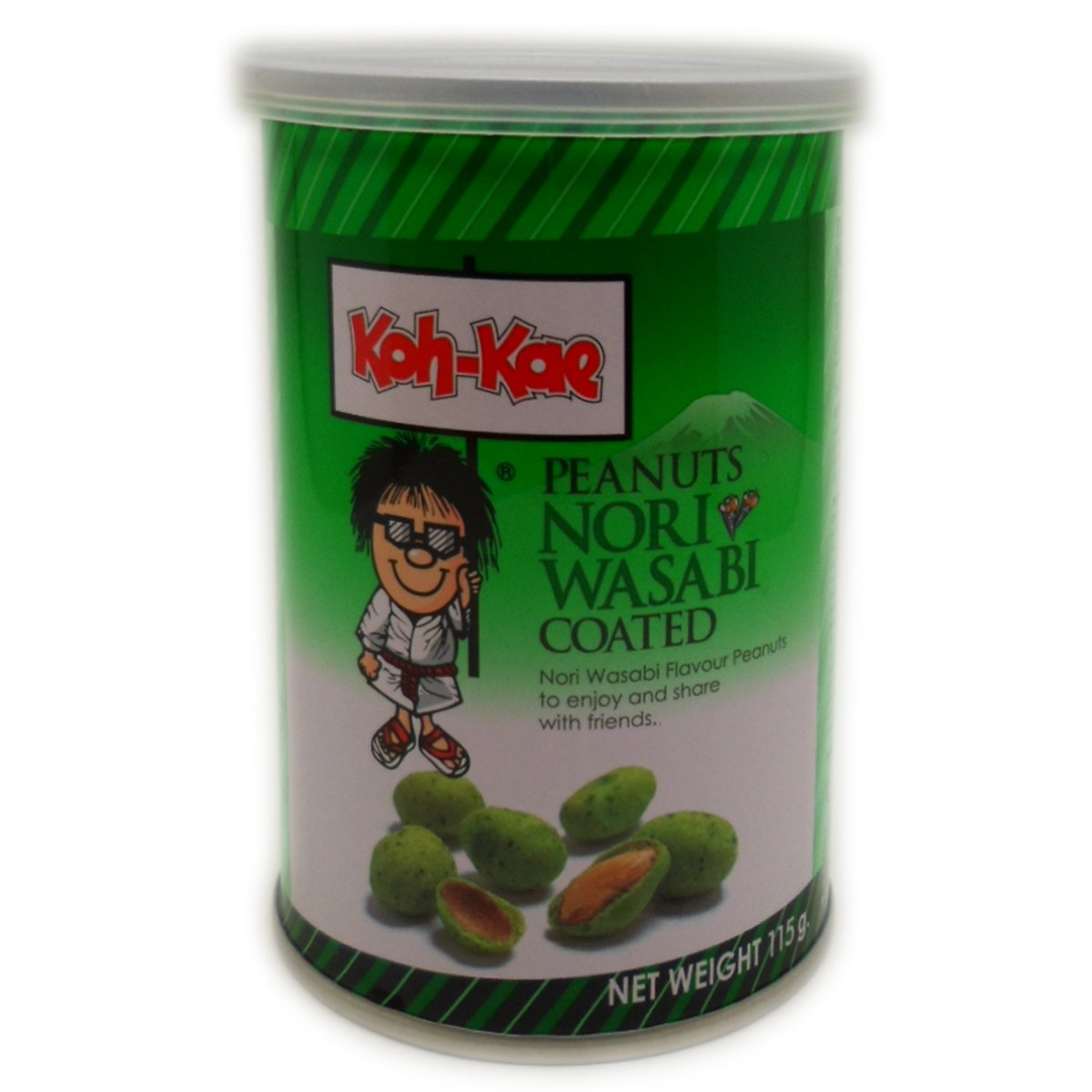 Koh-kae Snack Peanut Nori Wasabi Flavour Coated 115 G (4.06 Oz) X 4 Cans by Mae-Ruay Snack Food Factory Co Ltd. Bangkok Thaila [Foods]