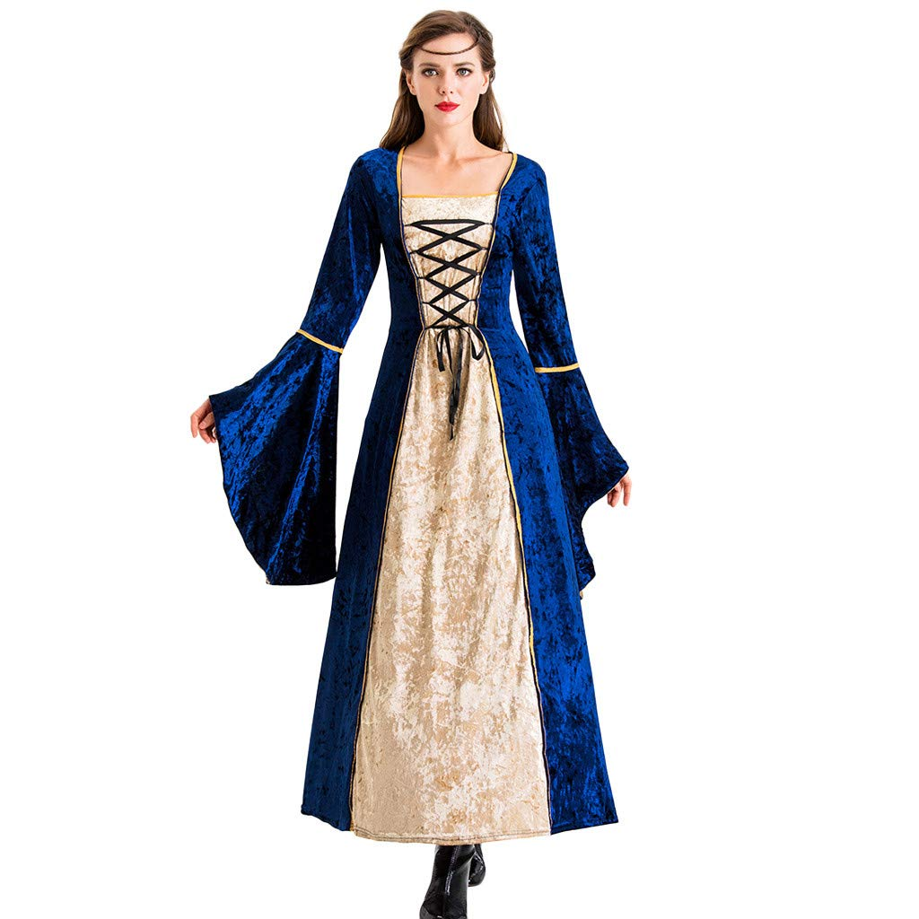 Women's Halloween Robe Lacing up Velvet Floral Sleeve Cosplay Costume Princess Castle Vintage Long Dresses by ShenPourtor_Women Dress