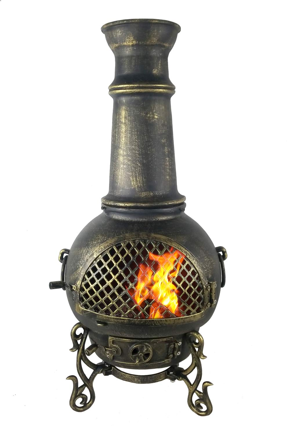 The Blue Rooster CAST Aluminum Gatsby Chiminea with Gas and a 10' Hose in Gold Accent. Also Comes with a Free Year Round Cover. by The Blue Rooster