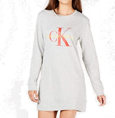 8fc0e2c84f Calvin Klein Women s Monogram Lounge Long Nightshirt at Amazon ...