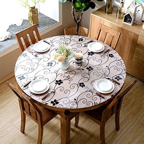 A 130130cm Nappe ronde de PVC de nappe européenne, Nappe de table en verre souple Nappe de nappe de table en cristal imperméable à l'eau (Couleur   A, taille   130  130cm)