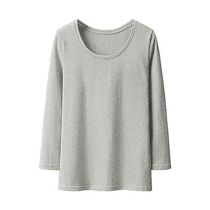 Camiseta de algodón de color liso para mujer en primavera y otoño Blusa de manga sencilla