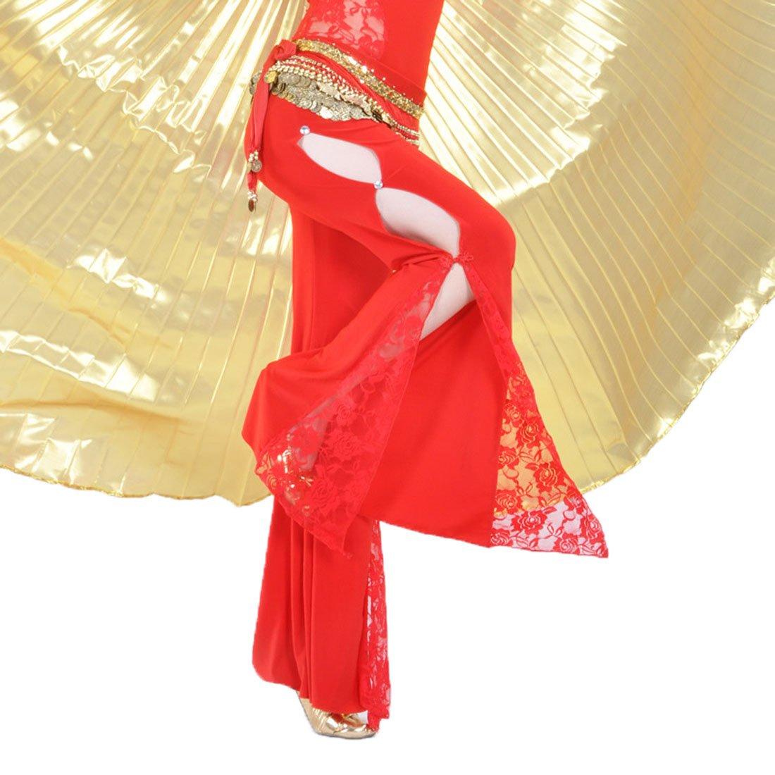 Calcifer alta calidad S/ólido Encaje Side Slits pantalones de danza del vientre traje Dancewear para mujer profesional Dancer Lake Blue
