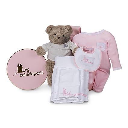 Canastilla regalo bebé en Caja Vintage Spa Esencial de BebeDeParis-Rosa- set regalo para recién nacido