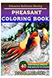 PHEASANT Coloring book for Adults Relaxation  Meditation Blessing: Sketches Coloring Book 40 Grayscale Images