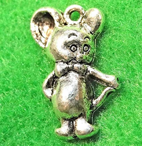50Pcs. Wholesale Tibetan Silver Cute Mickey Mouse Charms Earring Drops Q1190 Jewelry Making Supply Pendant Bracelet DIY Crafting by Wholesale ()