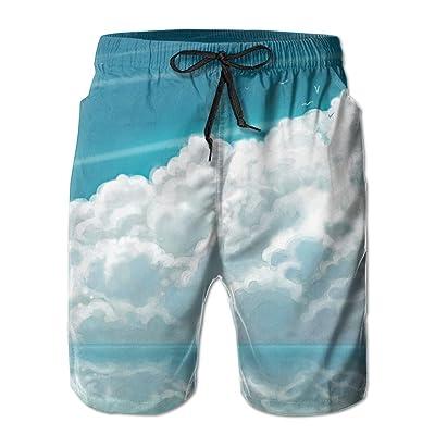 Bdna Sky Clouds Men's Beach Shorts Swim Trunks Casual Sport Print Short Pants Jogging Pants