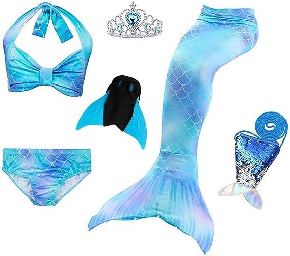 Multicolore Opzionale Bambini Mermaid Beach Costume da Bagno Costume da,Ragazze Coda da Sirena per Nuotare Bambina Costume da Bagno Incluso MARYYUN 3Pcs Swimwear Coda di Sirena