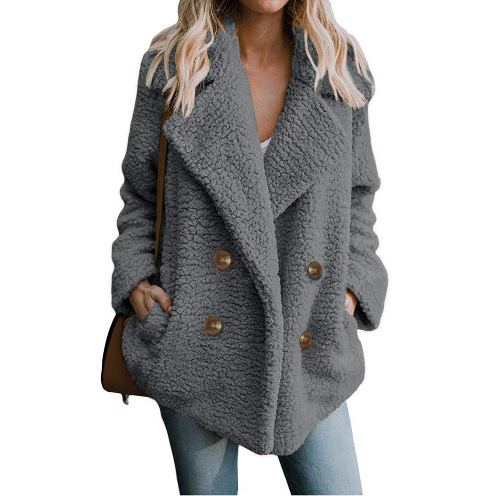 Womens Winter Open Front Fleece Coat Cardigan Button Solid Jacket Outwear with Pockets
